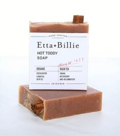 Hot Toddy Soap. Organic oils, lemon, nutmeg, black tea and bourbon. By Etta+Billie. $10