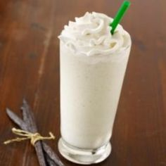 Starbucks Vanilla Bean Frappuccino Recipe.  2/3 cup milk, 2/3 cup ice, 2tablespoons of vanilla creme powder (or vanilla syrup), and 2 scoops of vanilla bean ice cream. Blend all ingredients together in a blender or food processor until smooth, and enjoy. If possible use the frappe setting on the blender for best results.