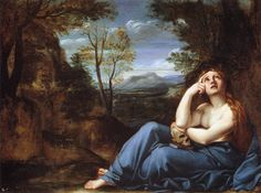 The Penitent Magdalen in a Landscape (c.1598). Annibale Carracci (Italian, 1560-1609). Oil on copper. Fitzwilliam Museum, Cambridge. The attribution of this painting to Annibale Carracci is doubtful; recently it was attributed to Francesco Albani. This small copper is obviously related to the slightly larger canvas in the Galleria Doria Pamphilj, whose authorship by Annibale is more certain.