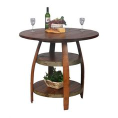 We're into the wood & metal style right now... How about a design similar to this, but with metal rings instead of wood? (Barrique Bistro Table from Joss and Main)