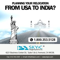 Relocating from USA to India??? Sky2c Freight System offer Hassle-free relocation services worldwide. #relocatingfromUSAtoIndia #relocating #relocationservices