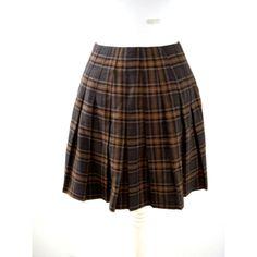 90s Vintage Brown Plaid Mini Skirt - Brown Plaid Pleated Mini Skirt -... ($20) ❤ liked on Polyvore featuring skirts, mini skirts, brown mini skirt, short skirts, plaid miniskirts, plaid skirt and wrap mini skirt