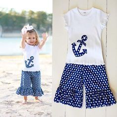 Blue and White polka dot ruffle capris with short sleeve white top, anchor applique.     10% of sales goes to the Make-A-Wish Foundation!!