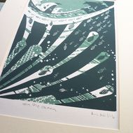 Fish swim under and amongst the ocean wave in my 2 colour screen print.  The colours are a rich dark green and a blue green. Print size / width: 19cm  /  Height:25.5cm / Paper: Fabriano medium weight. Thanks Mandy
