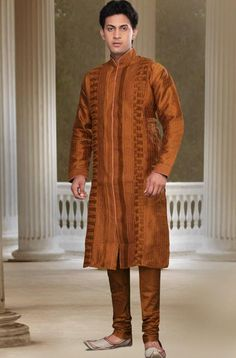 Dark Rust Art #Silk Readymade #Kurta with Churidar @ $56.74 | Shop @ http://www.utsavfashion.com/store/item.aspx?icode=mpc118