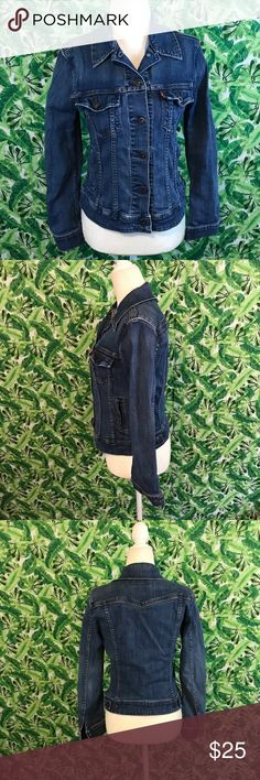 Levi's San Francisco denim jacket small jean Item- Levi's San Francisco denim jacket  Size- small   Measurements- 17 across bust 18 inches from shoulder to hem   Condition- previously owned no holes tears or stains   All items come from a smoke free dog friendly home. Measurements are taken laying flat. I ship 3-4 times a week. No trades please! I am open to reasonable offers! Levi's Jackets & Coats