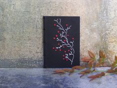 Blooming Branch. Embroidered A6 Notebook. Nature Notepad. Red Flowers Jotter. Japanese Black Notebook. Mini Spring Journal. Pocket Notebook