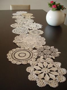 Vintage Doily Runner Wedding Table Decoration by WHITEStardust