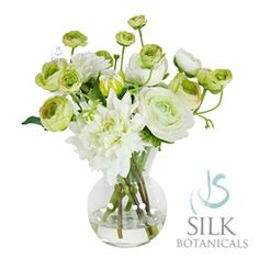 Dahlias and Ranunculus in Glass Vase 11 in. white