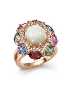 Purple Amethyst, Pink Amethyst, Pink Tourmaline and Diamond Cocktail Ring in 14K Rose Gold.