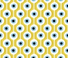 Eye Pod Yellow fabric by spellstone on Spoonflower - custom fabric Yellow Fabric, Abstract Lines, Eye Art, Paper Beads, Illustrations And Posters, Fabric Painting, Background Patterns, Fabric Patterns, Custom Fabric