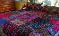 Fabulous handmade Guatemalan patchwork quilts, pillow covers, throws and wall hangings Fabric Rug, Pillow Fabric, Pillows, Kantha Quilt, Quilts, Fibre And Fabric, Share Photos, Roomspiration, Home Design Decor