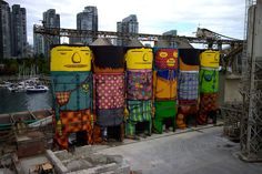 Six Industrial Silos in Vancouver Converted Into Massive Public Art Installation