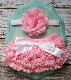 Baby Girl Petti Lace Bloomers Ruffle Diaper Cover Baby Pink White Shabby Flower Headband Set Photography Prop 6 9 12 18 months CAKE SMASH on Etsy, $21.73 CAD