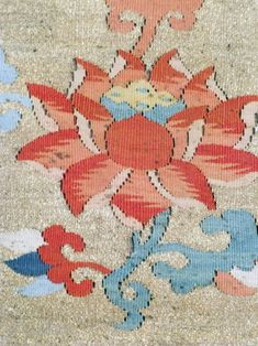Antique Chinese Early Qing Dynasty Kesi Canopy  Antique Tibetan monastic canopy made up of a central panel of an early Qing dynasty, Kangxi period Chinese nobleman's polychrome silk and gold kesi weave robe fragment. The  ...