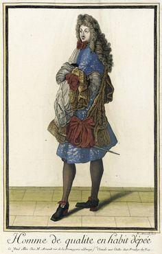 """1683-1688 French Fashion plate """"Recueil des modes de la cour de France, 'Homme de Qualite en Habit d'Êpée'"""" at the Los Angeles County Museum of Art, Los Angeles"""
