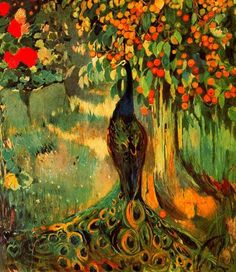 Joaquim Mir (catalan 1873-1940)-  (peacock painting for Trinxet house)#art #barcelona