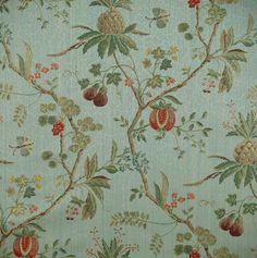 Scalamandre La Perouse - Mulit on Ivory asian fabric Pierre Frey, Fabric London, Farmhouse Wallpaper, Asian Fabric, Beach Fabric, Paisley Quilt, Textiles, Primitive Furniture, Exotic Fruit