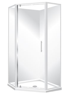 Angle corner for the tight Spaces Features Low profile tray with 40mm upstand. One piece acrylic lining. 1950mm high glass. Pivot door – modern 1-piece design which is reversible 6mm safety glass. Available in White or Silva Polished quality metal chrome handle,