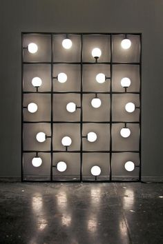Bulb Puzzle-ATELIER ARETI, SQUARES: 20 squares and spherical bulbs lit by LEDs. this is such a cool sculptural object/lighting piece. Interior Lighting, Lighting Design, Industrial Lighting, Cool Lighting, Modern Lighting, Light Art, Lamp Light, Light Bulb, Etagere Design