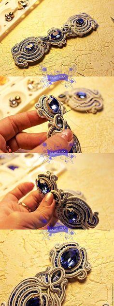 az elso harom ko karperec a szettnek Soutache Bracelet, Soutache Jewelry, Beaded Jewelry, Beaded Bracelets, Diy Jewelry, Jewelery, Handmade Jewelry, Shibori, Soutache Tutorial