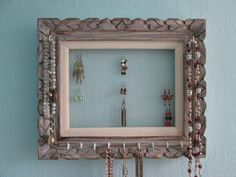 Jewelry Organizer  Vintage Wood Frame  Wall by VintageVibrancy, $35.00