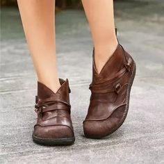 Flat Heel Spring Casual Pu Leather Boots Flat Leather Boots, Flat Heel Boots, Slip On Boots, Ankle Heels, Leather Heels, Pu Leather, Vintage Leather, Vintage Lace, Casual Heels
