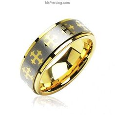 Tungsten Carbide PVD Gold and Brushed Ring With Cross Decorations #mspiercing #piercings