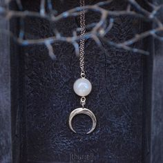 Moonstone Necklace  Crescent Moon Witchy Pendant Moon Phase