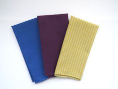 Vtg Mens Handkerchief Pocket Squares Set of 3 Blue Gold Stripes Purple NOS #Unbranded #Plain