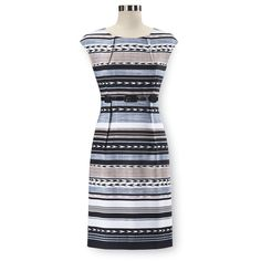 Neutral Stripe Belted Dress - Women's Clothing, Unique Boutique Styles & Classic Wardrobe Essentials