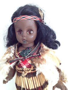 "Vintage Maori Doll from NZ, 31cm, 12"" Firm Moulded Rubber Doll, New Zealand Souvenir, Maori dress, Kiwiana"