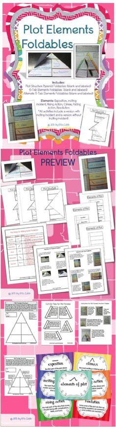 Plot Elements Foldable Collection for Middle Grades. Several foldables, graphic organizers, and posters for teaching exposition, rising action, climax, falling action, resolution.