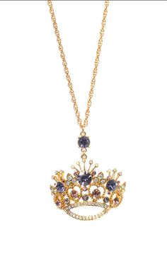 Betsey Johnson 'Tzar' Crown Statement Pendant Long Necklace