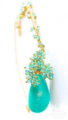 "Luxe Huge Amazonite and Apatite Necklace ""SummerQueen"" - Handmade Jewelry - Renate Exclusive - 1"