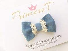 Girls/Baby Hair Bow, Denim Bow w/ Lace, Summer Hair Bow, Vintage Style Hair Bow, Denim Hair Bow, Fabric Hair Bow, Blue Fabric Hair Bow by BowtiquebyprincessT on Etsy