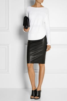 HELMUT LANG Stretch-leather pencil skirt HELMUT LANG Paneled knitted sweater TIBI Leona leather mules PROENZA SCHOULER PS Elliot shearling, leather and suede clutch FENDI Silver-plated mother of pearl ring