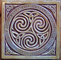 8 x 8 relief carved Celtic Spiral knot tile. By Earth Song Tiles Celtic Symbols, Celtic Art, Celtic Crosses, Mayan Symbols, Celtic Dragon, Egyptian Symbols, Ancient Symbols, Viking Designs, Celtic Designs