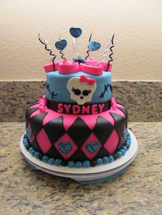 Monster High Cake - the squiggly black candles really work with this