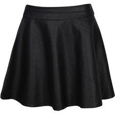 Boohoo Mandy PU Skater Skirt ($30) ❤ liked on Polyvore featuring skirts, bottoms, saias, pu skirt, flared skirt, circle skirt and skater skirt
