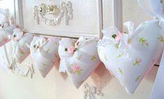 Pink Rosebud Garland / Heart Garland / Fabric Heart by DoesMeadow, $18.00
