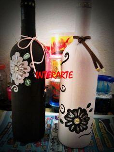 Par de garrafas floral