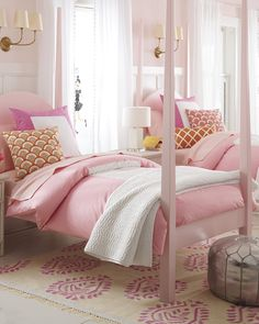 Pink is having a major moment right now. We've been spotting the soft hue on the runway (hello, dreamy Jason Wu and Max Mara pantsuits) and envying the way people are incorporating blush tones into their homes. Princess Bedrooms, Pink Bedrooms, Teen Girl Bedrooms, Little Girl Rooms, Romantic Bedrooms, Room Girls, Small Bedrooms, Pink Bedroom Design, Fantasy Bedroom