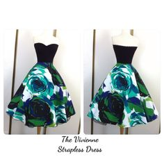 Vivienne Rose Strapless Party Dress Mod 60s by MoonbootStudios, $149.50