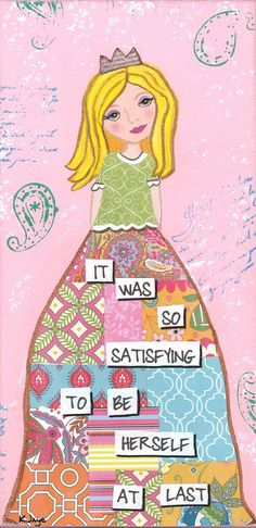 Be yourself! Inspirational Art for Girls and Women - quilted skirt girl - print by KJaye.