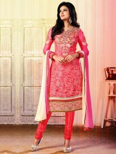 Pink Georgette Suit With Resham And Zari Embroidery Work www.saree.com