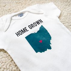 """""""Home Grown"""" Onesie - Super Cute DIY Shower Gift using your Silhouette and Heat Transfer via thinkingcloset.com"""