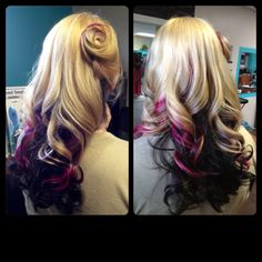 Pink black and platinum curled pinup 50s style hair