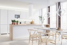 Bright interiors with use of white and light wood