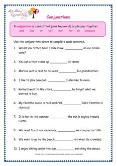 Grade 3 Grammar Topic Conjunctions Worksheets - Lets Share Knowledge Teaching English Grammar, English Worksheets For Kids, English Lessons For Kids, Grammar Lessons, English Vocabulary, English Phonics, Worksheets For Grade 3, School Worksheets, Pronoun Worksheets